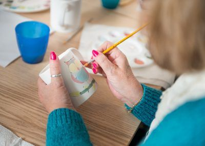 Mug painting at a pottery painting hen party