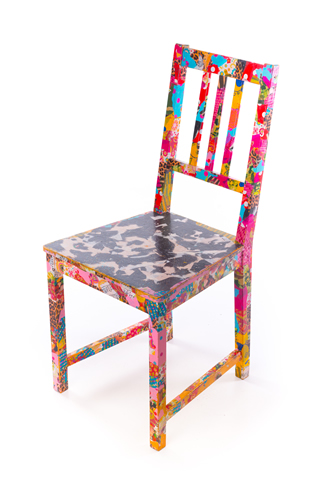 Decoupaged chair at Hullabaloo Party