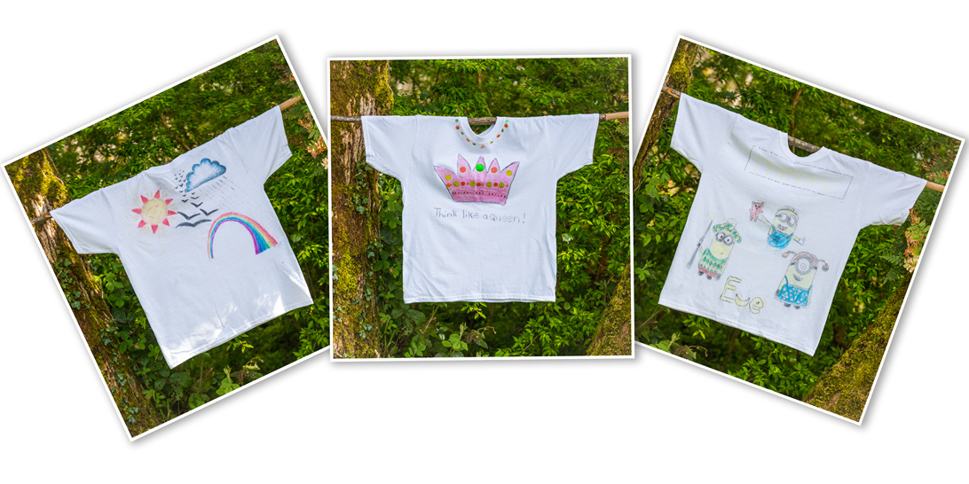 T-shirts designed at a children's birthday party