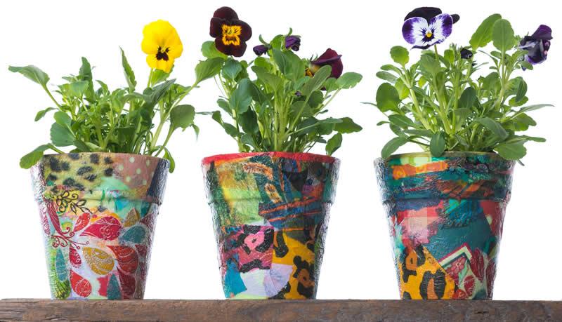 Decoupage flower pots