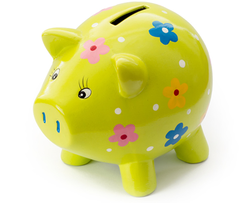 Painted lemon coloured ceramic piggy bank