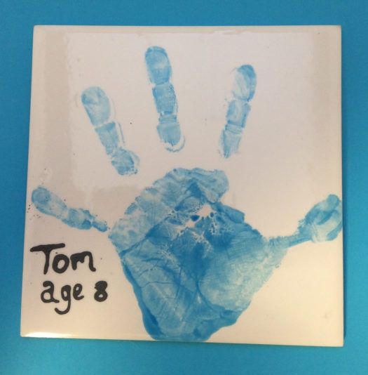 Baby hand print on pottery - a lovely personalised keepsake