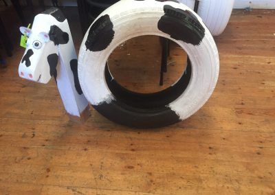 Cow made from and old car tyre