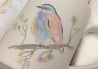 Bird painted on pottery at women's workshop in Co. Leitrim, Ireland