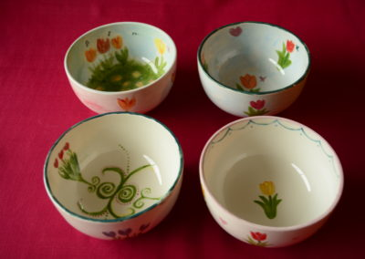 Bowl set painted at a pottery painting party in Sligo
