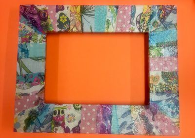 Decoupaged picture frame done at upcycling workshop in Carrick-on-Shannon