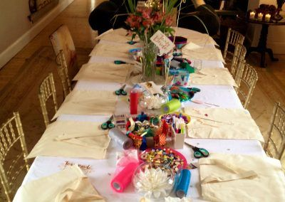 All set up and ready to go for a designer bag making hen party in Westmeath