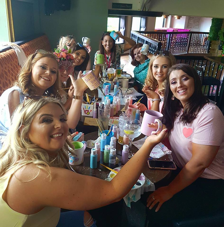 Hens pottery painting teapots at a hen party in Galway