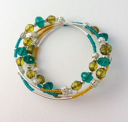 Hand-made memory wire bracelet at a jewellery making Hen Party at Hullabaloo