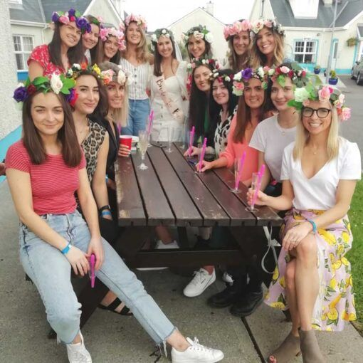 group-of-hens-wearing-flower-crowns-ireland