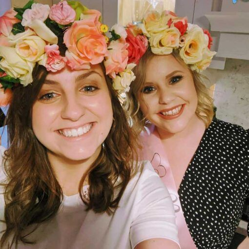 2-ladies-wearing-faux-floral-crowns-ireland