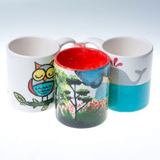 mugs-painted-at-Hullabeloo-pottery-painting-hen-party-Galway