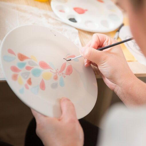 Pottery-painting-hen-party-ireland-peacock-plate