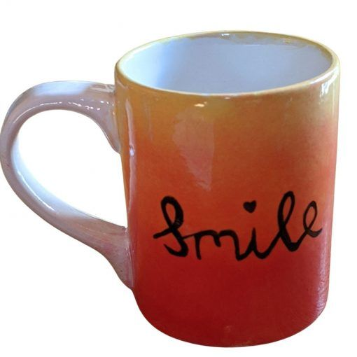 Pottery-painted-mug-saying-smile-kids-parties